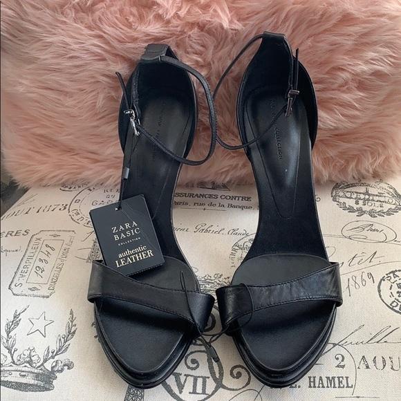 fff724d7fe16 Zara black leather heels sz 10